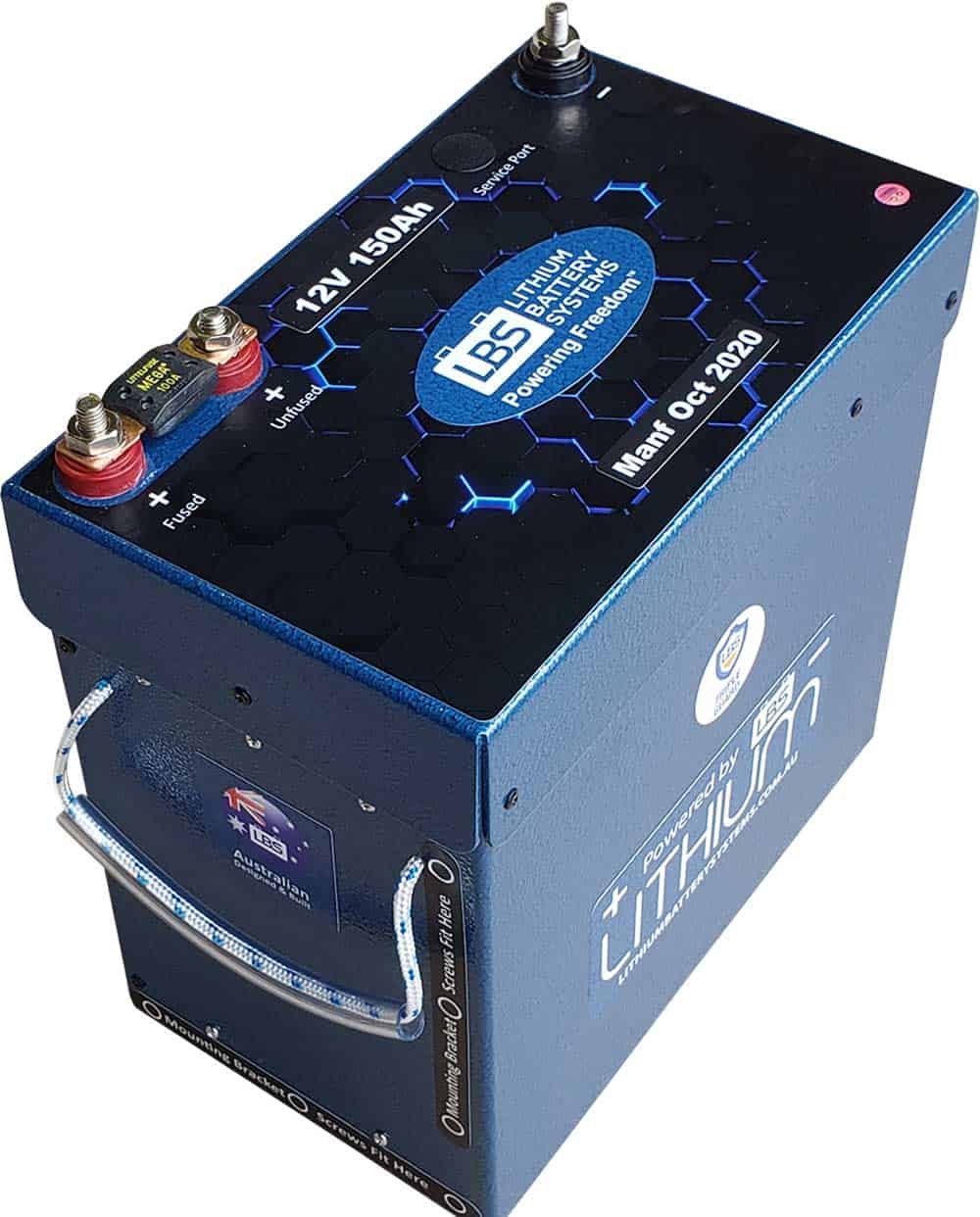 Lithium Battery Systems Side View LBS-12150C-SP